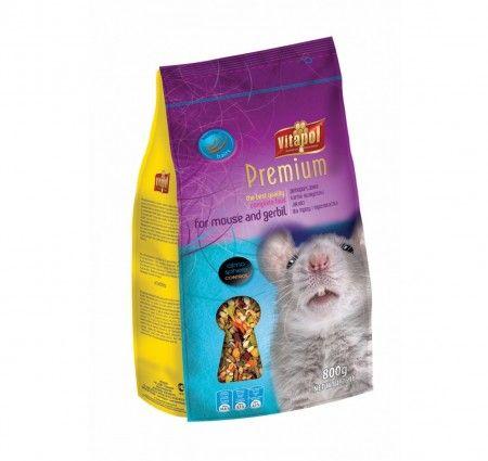 Vitapol Karma pełnoporcjowa Premium dla myszy i myszoskoczka 800 g. Pokarm pełnowartościowy dla myszy i myszoskoczka w opakowaniu z folii.