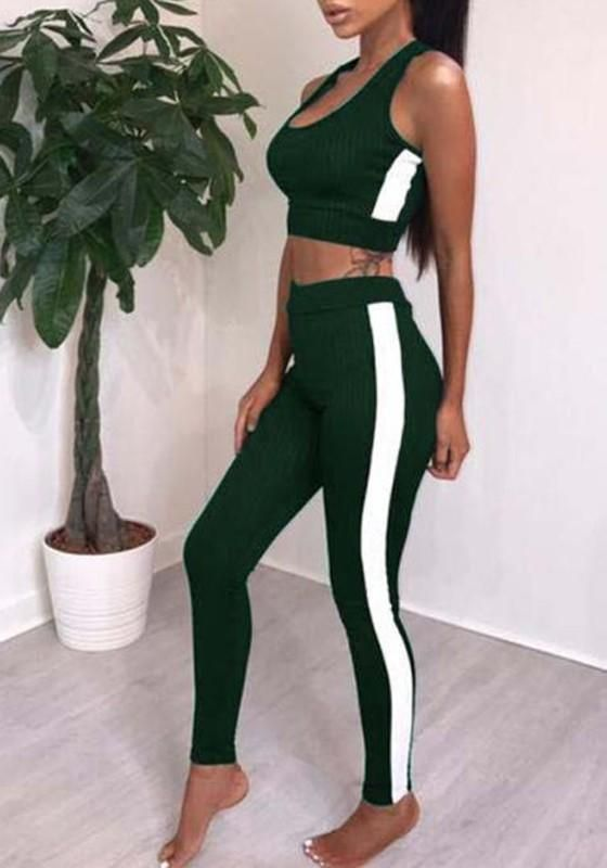 Green Patchwork 2-in-1 High Waisted Slim Sports Long Jumpsuit