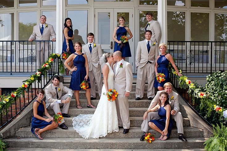 I like how the pose is very natural... I wont have as many groomsmen and brides maids but i think i could make this work