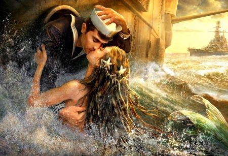 A Mermaid's Kiss - beautiful, fantasy, kiss, sailor, romance, mermaid, ship