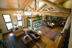 Wish I could find a better picture of the ski lodge style I love so much. You know: big windows, fireplace, wood, stone, chandelier, cozy feel.: Lodge Style, Wood, Inspiration Ideas, Big Windows, Houses Ideas, Lodges Style