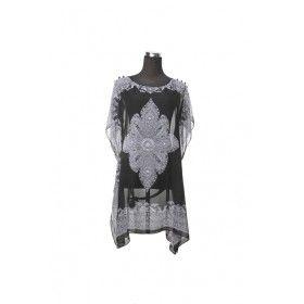 Silk Kaftan Top - Black/White