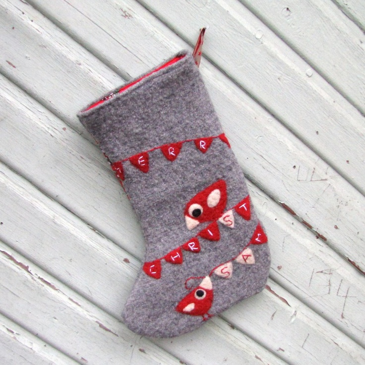 Gray Christmas stocking with needle felted red birdies and Merry Christmas bunting. $40.00, via Etsy.
