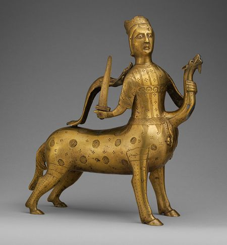 Aquamanile in the Form of a Crowned Centaur Fighting a Dragon, 1200–1225  German (Lower Saxony)  Copper alloy