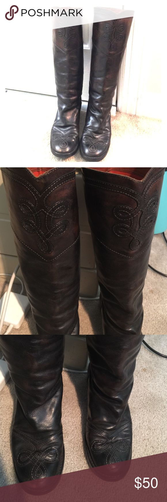 Anna Sui Florentini+Baker dark brown boots! Anna Sui partnered with Florentini+Baker on a range of boots. This is a pair of dark brown boots size 8.5/euro 39. Very comfortable, I had the soles reinforced for better traction for NYC walking. Anna Sui Shoes
