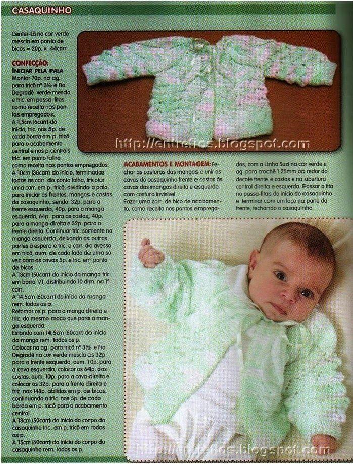 Receita de Tricô: Casaquinho de bebê em tricô