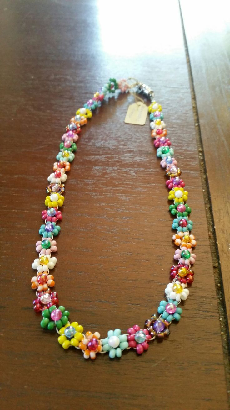 Colourful Daisy Chain necklace with magnetic clasp.