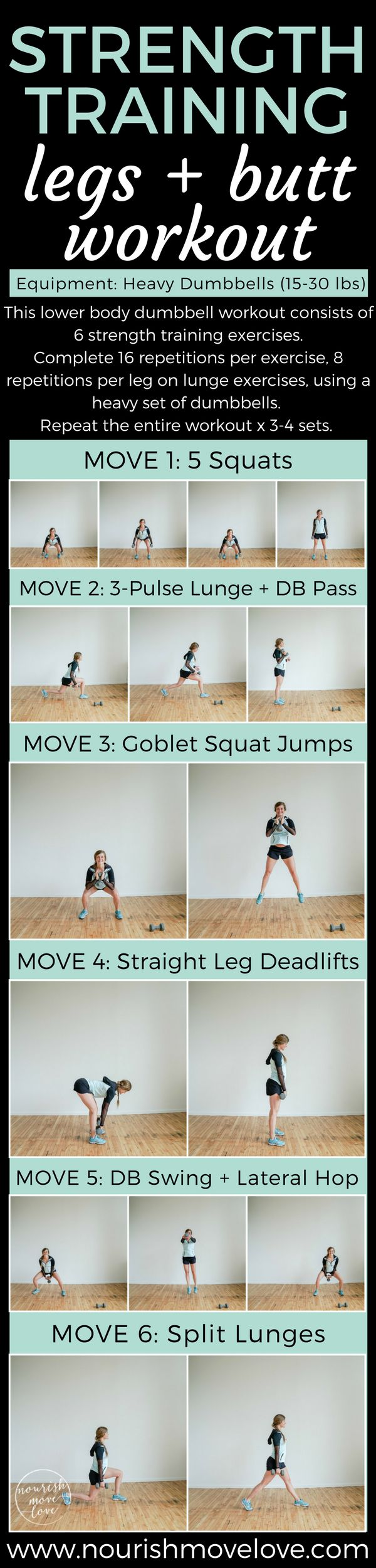 Build lean, strong legs with this strictly strength lower body dumbbell workout. Leg day workout pairing strength exercises with weight plyometrics. 6 exercises, repeat 3-4 sets, heavy set of dumbbells. At-home workout for glutes, butt, legs, thighs. Done in under 30 minutes.
