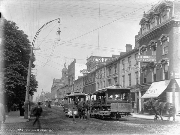 Toronto Street Railway Co. horse-car 145 on King street. View from Church street. [ca. 18 Aug. 1890]