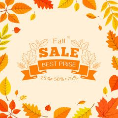 Colorful autumn leaves and sale text.