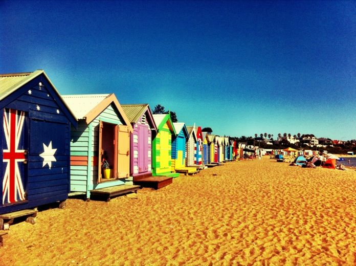 These beach boxes are 'Aussie icons' and are found on Brighton beach near Melbourne in Victoria, Australia