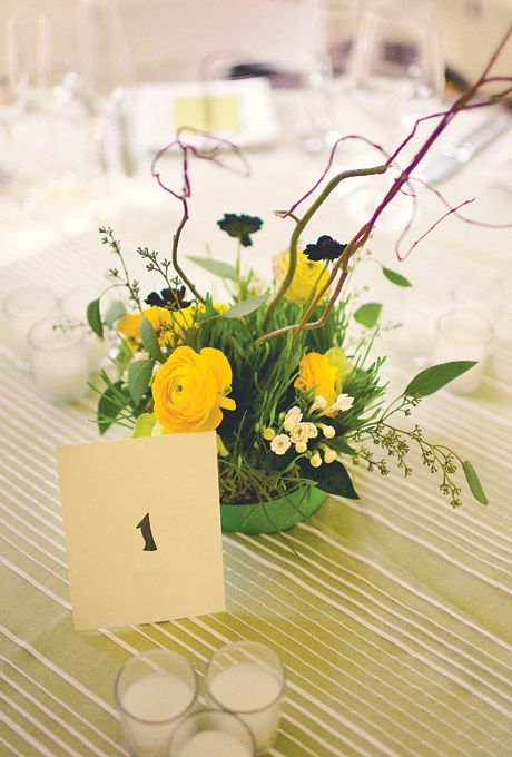 Whimsical Wedding Centerpiece With Yellow Roses