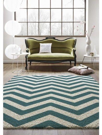Hochflor Teppich Graphic Zick Zack Türkis #benuta #teppich #chevron #interior #rug