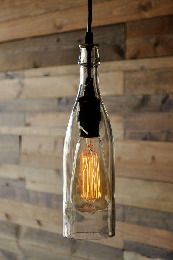 Clear Wine Bottle Pendant Lamp