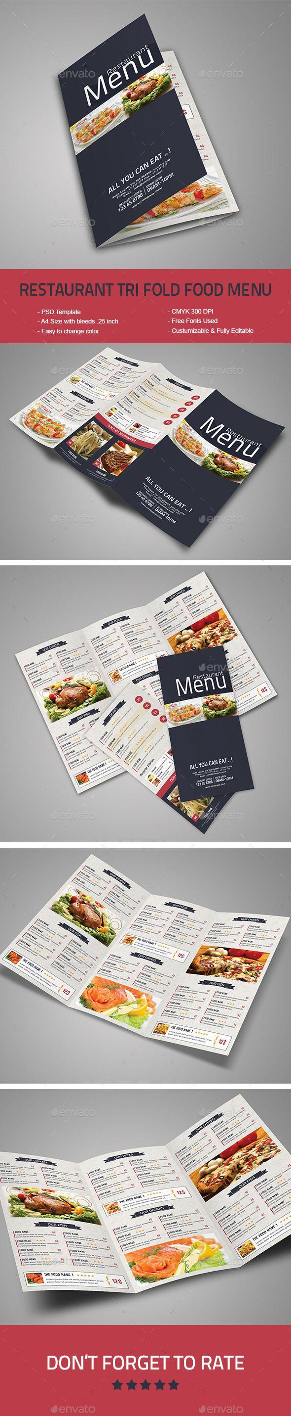 Restaurant Tri-Fold Food Menu Template #design Download: http://graphicriver.net/item/restaurant-trifold-food-menu/12110782?ref=ksioks