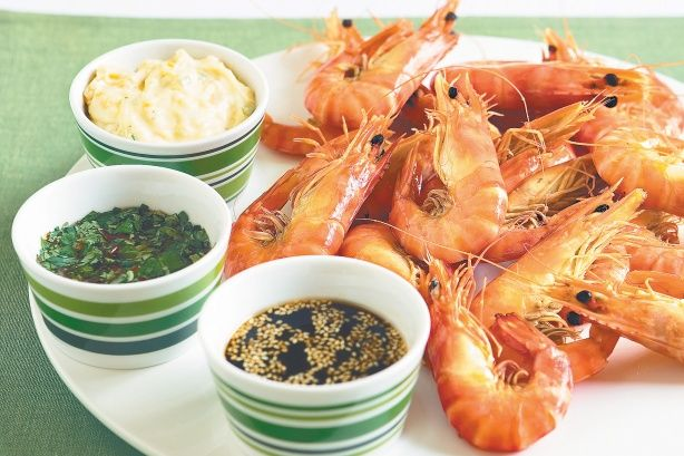 Prawn With Three Dips Recipe