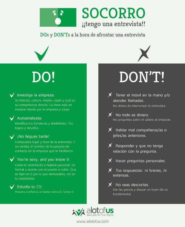 Infografía: DOs y DON'Ts de una entrevista de trabajo.
