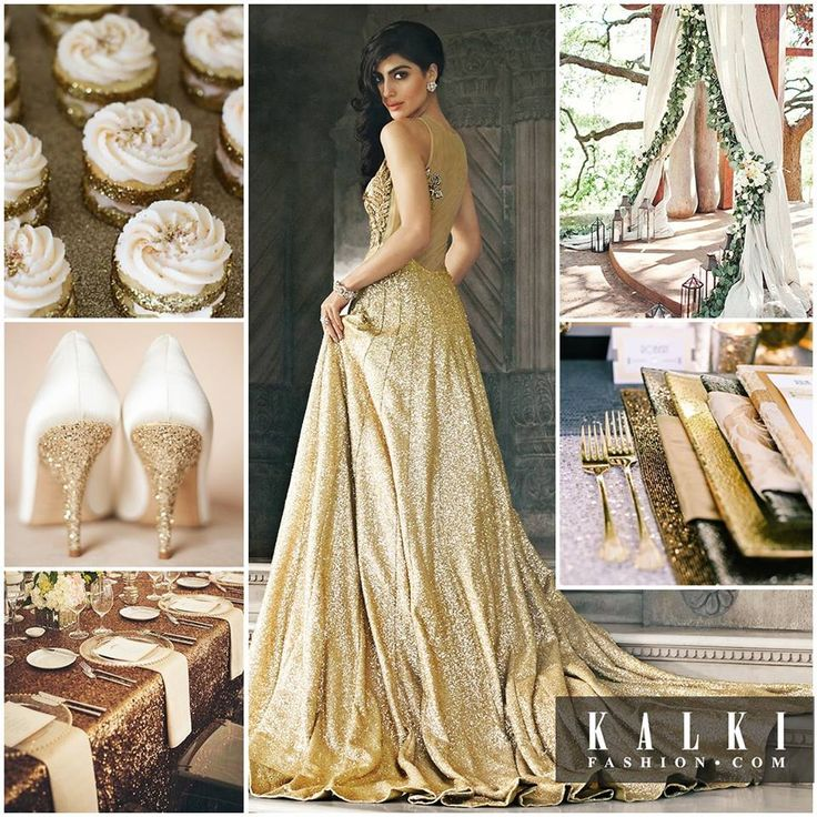 Make your big day a glamorous gala with the Gold theme. Ring the wedding bells in white and golden décor and royally sparkling dining. Dress in this elegant glittering gold gown on your wedding day. Match it with sparkling gold and white pumps.
