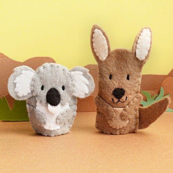 Little Koala and Kangaroo  Wool Felt Finger Puppets by stayawake, $15.00