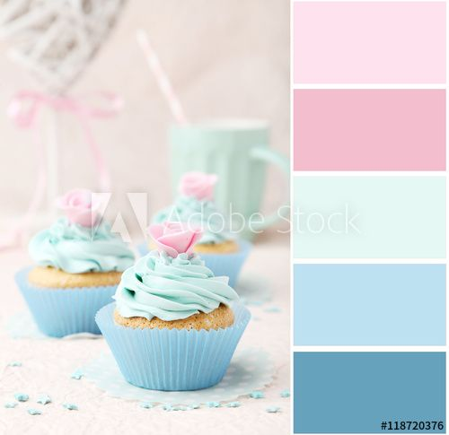 Color palette with tasty cupcake on pink background
