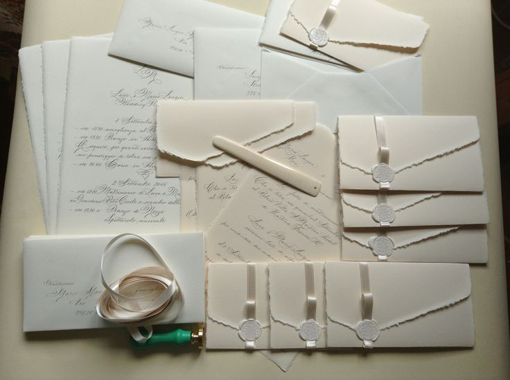 Invitations and Wedding program, Writing in Spencerian on Amalfi paper