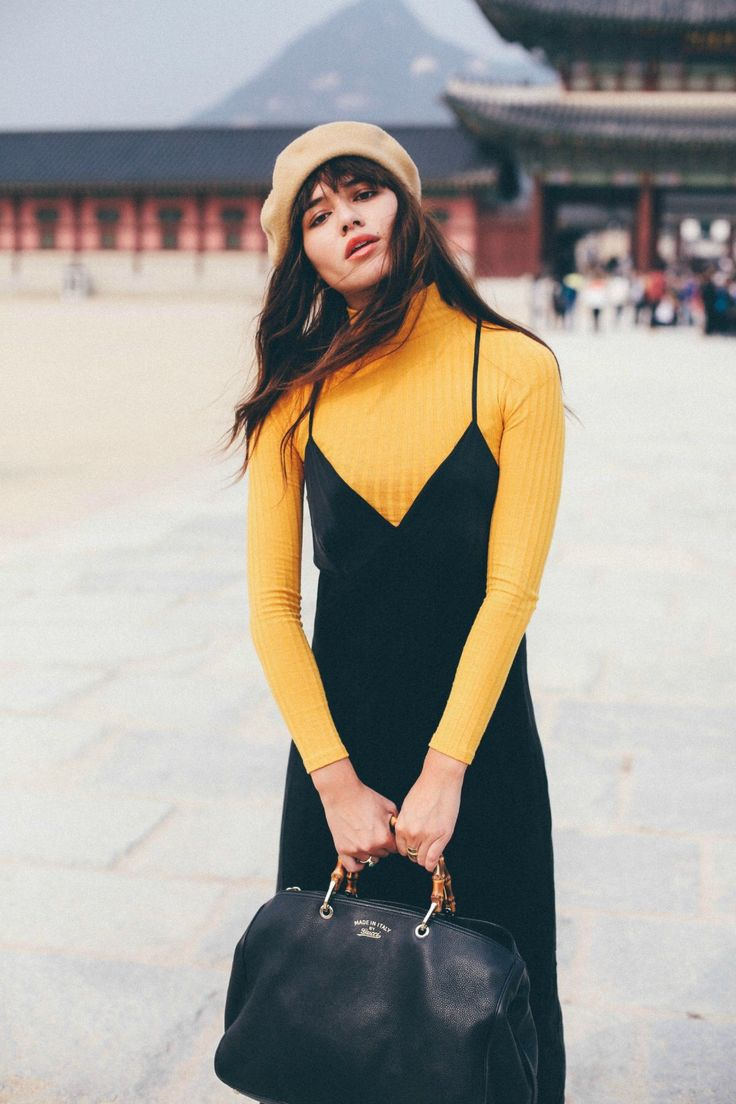outfit inspiration - layering dresses over long sleeve shirts for fall/winter