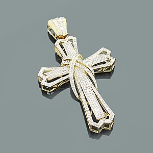 This Diamond Cross Pendant for Men in 10K gold weighs approximately 18 grams and showcases 1.96 carats of sparkling round diamonds. Featuring an intricate 3-D design and a highly polished gold finish, this men's diamond cross pendant is available in 10K white, yellow and rose gold. Chain must be purchased separately.