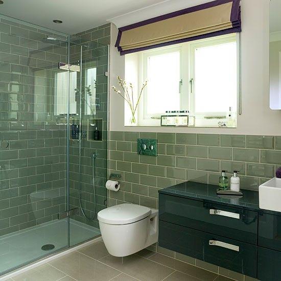Sage green tiled bathroom | Decorating
