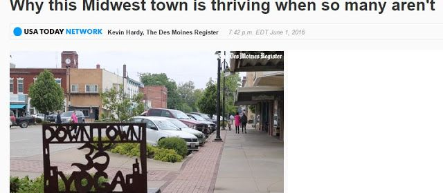 Fairfield, IA is featured...why is it thriving economically?  Kevin Hardy reports for USA Today & The Des Moines Register.  A number of small business owners are interviewed.  Fairfield is home to Maharishi University of Management.
