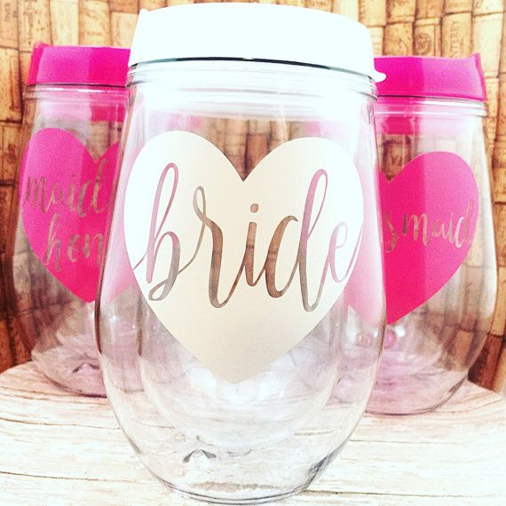 Bachelorette Party Favors - Bride Tribe Wine Glass -  Wine Glass - Stemless Wine Glass - Bridal Party Tumblers Personalized Tumbler