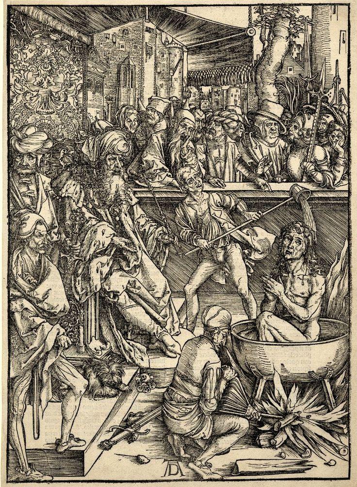 Albrecht Dürer. Апокалипсис и религиозные сюжеты: uchitelj. Мученичество святого Иоанна; Когда святого подвергают пыткам в чане кипящего масла справа, а римский император Домициан сидит на своем троне слева.