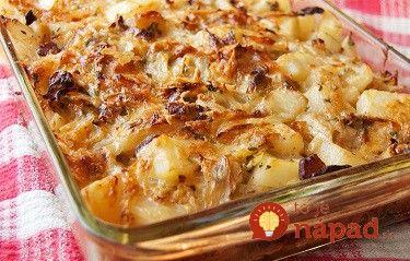 Zapečená kapusta so zemiakmi a slaninkou