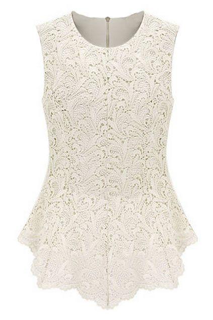 ROMWE   Sleeveless Lace Embroidered White Blouse, The Latest Street Fashion#ROMWEROCOCO