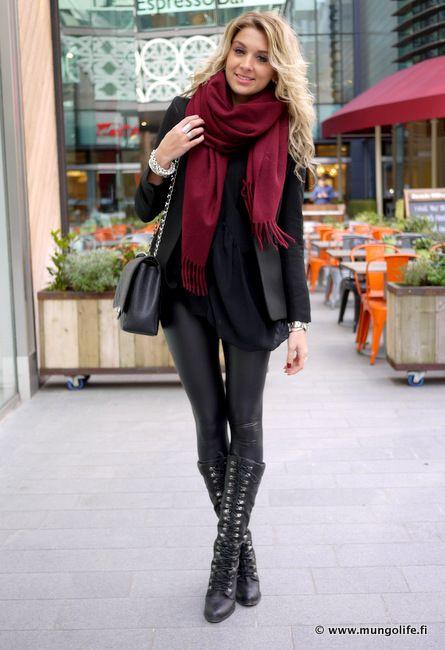 black in different textures - maroon scarf / black blouse / black blazer / black leather pants / black heel boots