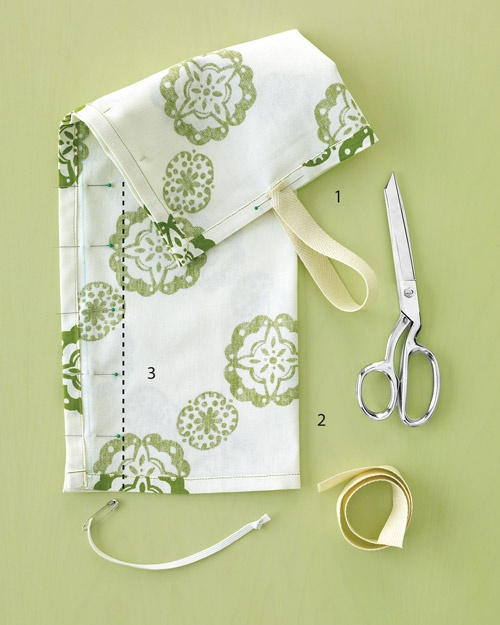 Plastic Bag Organizer How-To  Fold dish towel in half lengthwise, wrong side out; pin along the edge that's opposite the fold. Pin twill-tape ends to one open end to form hanger.    Sew a seam 7 inches from the folded edge to make a tube. Stitch twill tape in place.     (in photo: 1. Twill tape hanger, 2. Folded edge, 3. New seam)    Thread elastic through the towel's existing hem: Snip one small slit in the towel's hem. Flip tube over and repeat, making a second slit. Tie a large knot at…