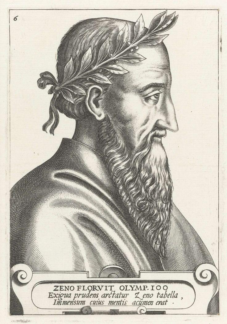 René Boyvin   Zeno, René Boyvin, 1566   Portretkop naar rechts, eronder cartouche met 3 regels Latijnse tekst: ZENO FLORVIT.... acumen erat. Zesde prent in een serie van twaalf Griekse en Romeinse beroemde mannen.