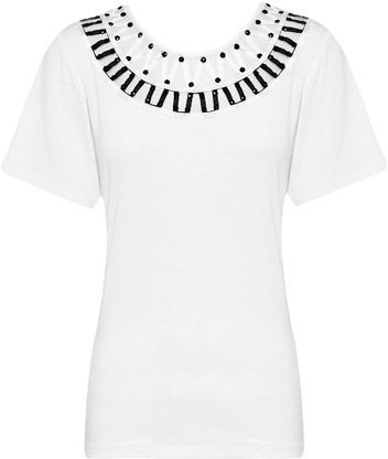 NONI B Top With Neck Trim $69.95 AUD  Short sleeve round neck top with grosgrain & diamonte detail Polyester/Cotton  Item Code: 047188