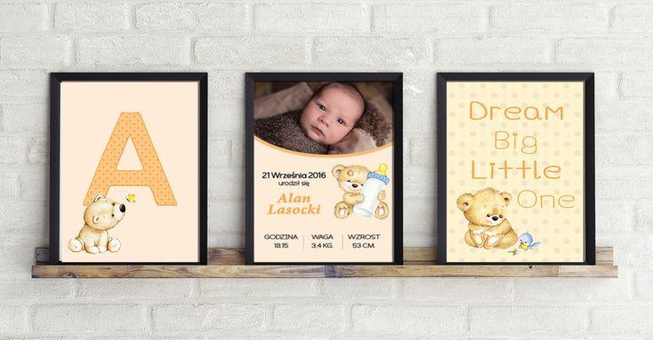 Komplet 3 obrazków dla dziecka. Spersonalizowana Metryczka, obrazek z pierwsza literą imienia i obrazek z dowolnym tekstem