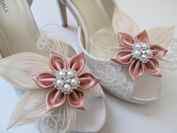 Rose Gold Wedding Shoe Clips Blush Bridal by GibsonGirlGarters