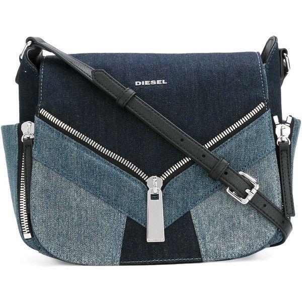 Diesel Denim Bag (17,965 INR) ❤ liked on Polyvore featuring bags, handbags, denim purse, denim handbags, diesel purse, blue purse and diesel handbags
