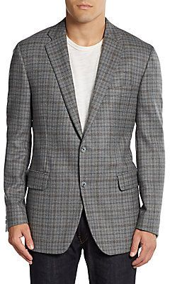 $695, Grey Plaid Wool Blazer: Saks Fifth Avenue BLACK Wool Plaid Two Button Slim Fit Blazer. Sold by Off 5th. Click for more info: http://lookastic.com/men/shop_items/29069/redirect