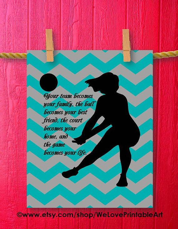 Volleyball Kids Wall Art Room Girl Nursery Room Teen Gifts for Teenagers Sports Decor Room Printable Sign Bedroom