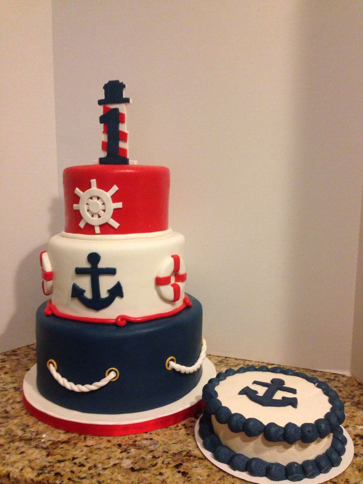 Nautical First Birthday cake