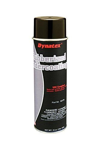 Dynatex 52175 Rubberized Undercoating Spray, 20 oz Aerosol Can, Net weight 16 oz Brown/Black  Dynatex rubberized undercoating provides long-lasting rust and corrosion protection to the undercarriage of cars, truck, buses and trailers  Seals and protects against rust and corrosion  Quiets road noise  Resilient rubber texture is tough and flexible with sound deadening qualities  Rubberized for maximum thickness, durability and flexibility