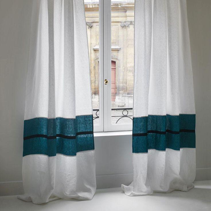 Rideau Ora - Blanc et Bleu Sarah - Maison Sarah Lavoine