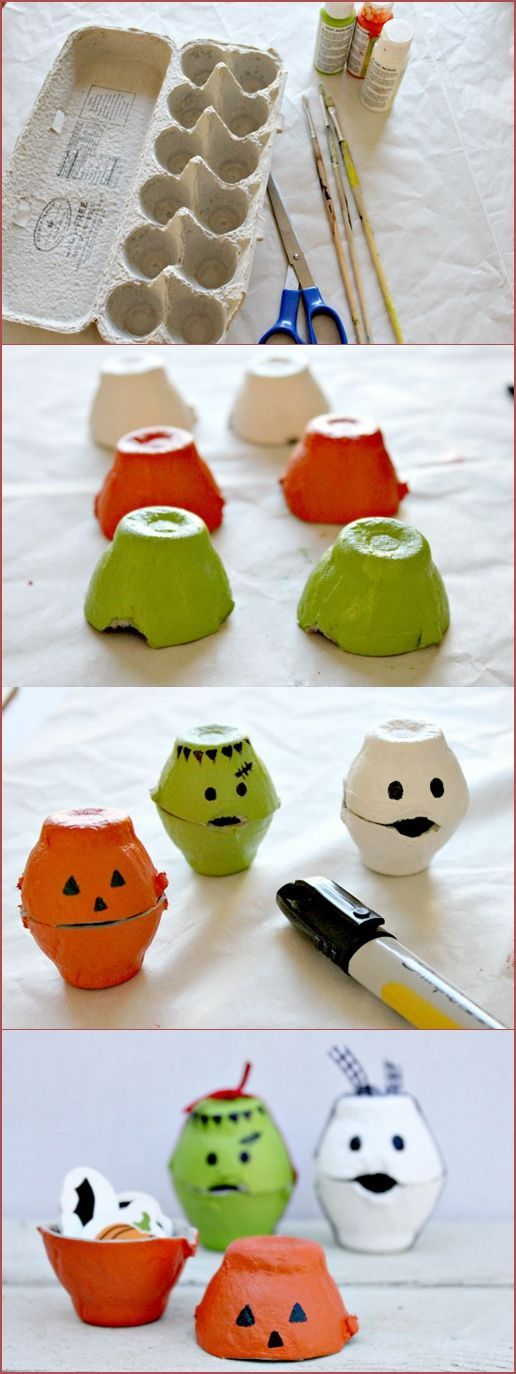 Halloween crafts {More cute pumpkins, or maybe doll-scale cereal bowls if you have the Styrofoam or plastic egg cartons?}