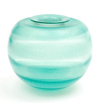 Sea-green glass Serica vase no.35 with crackle design A.D.Copier 1931 executed by Glasfabriek Leerdam / the Netherlands