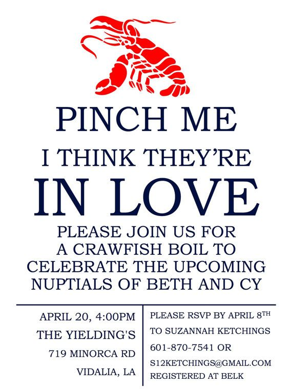 This would be a fun coed bachelor/bachelorette party, maybe.  I just love a crawfish boil, and we're getting married during crawfish season!