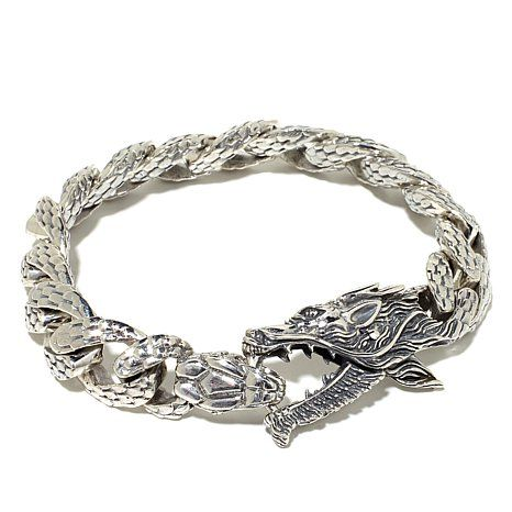 Bali Designs Men's Dragon and Snake Textured Bracelet Nice--would work for anyone--72 grams of silver