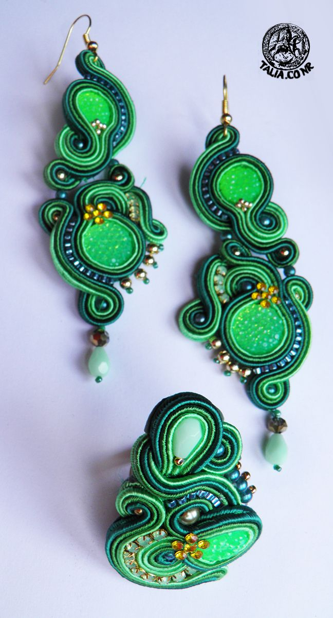 Neon Green soutache set with ring